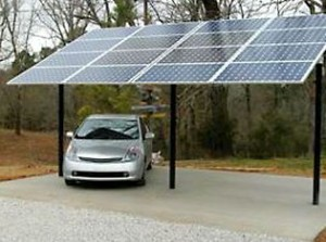 a solar carport with panels on the roof.
