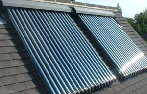 Solar collectors installed on a roof.