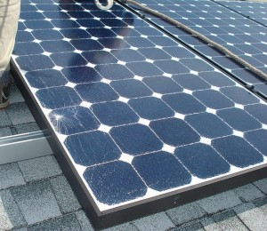 A used solar panel with minor damage
