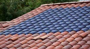 Curved solar roof tiles